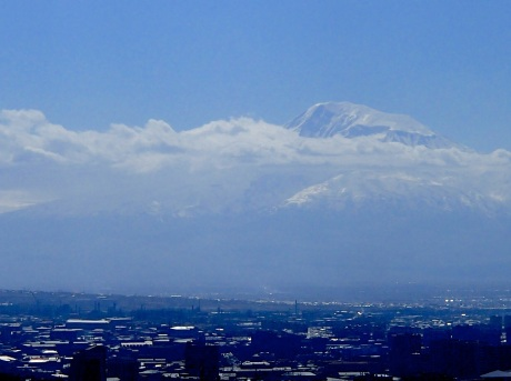 View of Mt. Ararat from the top of the cascades in Yerevan.