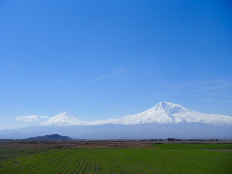 Perfect view of Mt. Ararat and Little Ararat from near the town of Ararat just before my spoke broke.