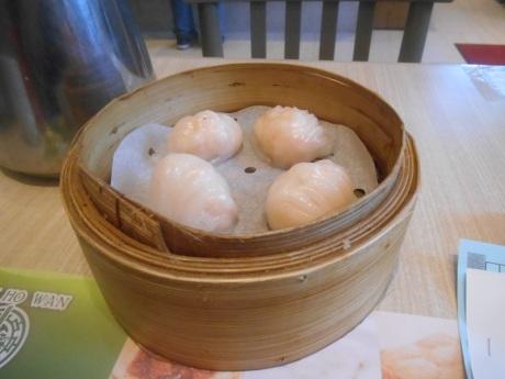 Steamed shrimp dumplings. Tim Ho Wan, Olympian City 2, Hong Kong.